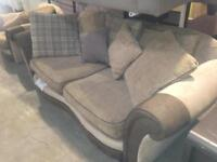 3 + 1 & Footstool Fabric Beige Brown Sofa & Chair