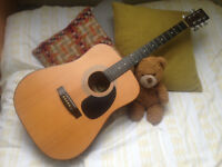 Guvnor 6 string acoustic guitar in natural finish with soft case ideal for a beginner