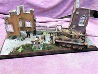 1/35th SCALE BUILT MODEL DIORAMA - NORMANDY VILLAGE, GERMAN TANK & CREW