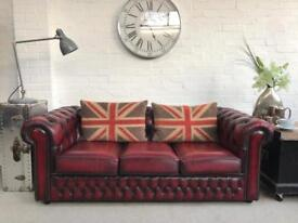 Oxblood Chesterfield, matching armchair available. Can deliver