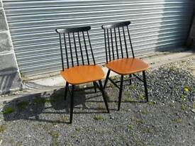 Pair of spindle back kitchen or dining chairs