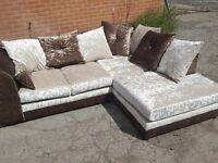 Superb as New crushed velvet corner sofa. used for few days,delivery available