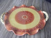 BEAUTIFUL GLAZED HAND PAINTED DECORATIVE CONTINENTAL LARGE CERAMIC PLATTER IN PERFECT CONDITION.