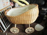 Wicker Moses Crib on Wheels
