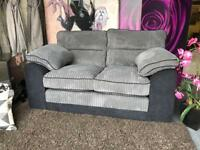 New Delta 2 Seater Fabric Sofa In Black and Charcoal