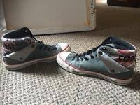 Men's leather Union Jack and grey converse - size 7.5