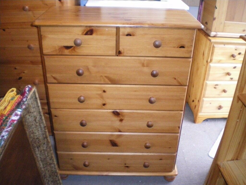 SOLID PINE TALL CHEST OF DRAWERS