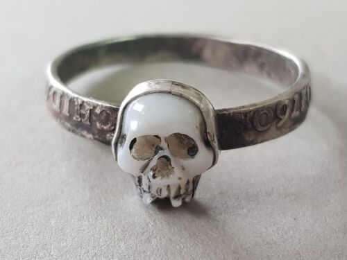 AMAZING ANTIQUE 1760 Georgian MEMENTO MORI mother of pearl SKULL SILVER RING