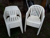 White Plastic Garden Chairs & table