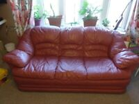 3 Seater Leather Sofa - Good Condition - Free for collection