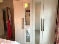 Gloss White Large Starplan Wardrobe (4 doors, mirrors) with shelving and hanging space