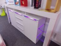 Garage clearance NEW LED Modern High Gloss White Cabinet Cupboard Sideboard Unit