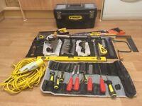 Various hand tools + tool box + plus extras