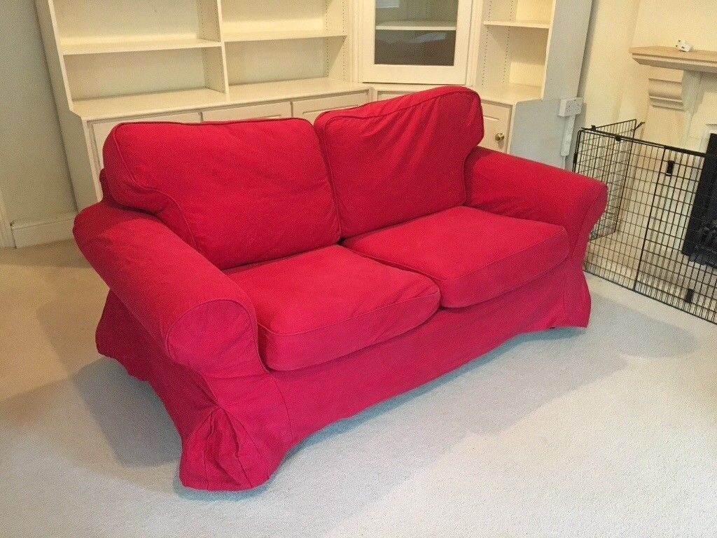 Ektorp ikea two seat sofa red corduroy cover in good condition