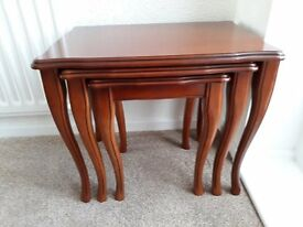 Stunning Nest of 3 Tables Cherry / Mahogony in Colour Excellent Condition
