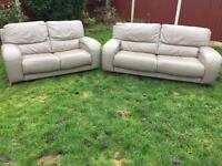 Dfs 3&2 seater grey leather sofas immaculate condition. Free immediate delivery
