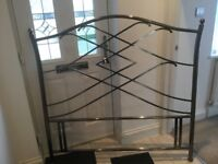 Brushed aluminium modern double headboard good condition