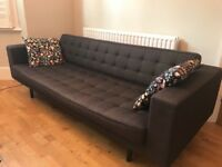Black/dark grey 3-seater sofa in good condition