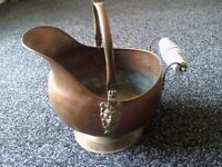 VINTAGE FRENCH COPPER BRASS COAL SCUTTLE GERMAN HELMET STYLE PORCELAIN HANDLES