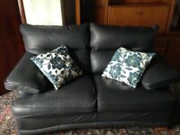 Three & Two Seater Sofas, Swivel Rocker &Footstool Navy Leather.