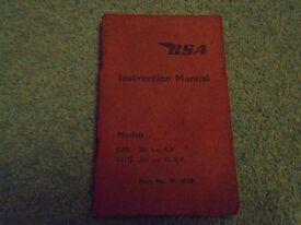 BSA INSTRUCTION MANUAL FOR C MODELS