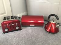 Red morphy Richards kettle toaster and bread bin