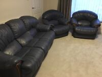 REAL Leather 3 Seat Sofa and Two Armchairs (BLUE)