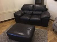 2 Seater Leather Sofa and Large Storage Footstool
