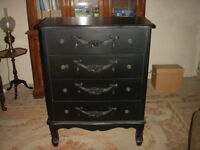 Black French style Toulouse 4-drawer chest & two matching bedside chests