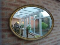 Ex Large Vintage Gold Oval Wall Mirror