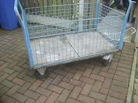 Warehouse trolley twin handles removable sides and ends very good used condition