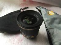 Nikon AFS 20mm f/1.8 Pro spec lens. ITEM RESERVED UNTIL 6pm Sun.