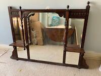 Antique mahogany Victorian mantle mirror