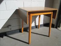 VINTAGE TEAK EFFECT TOP RETRO STYLE DROP LEAF KITCHEN TABLE DINING TABLE+++SOLD PENDING DELIVERY++++