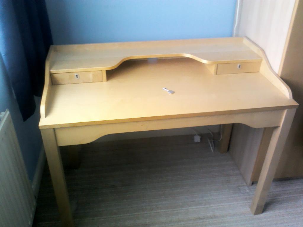 Ikea gustav desk birch finish with drawers cm wide cm
