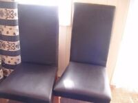 2 FAUX LEATHER DINING CHAIRS