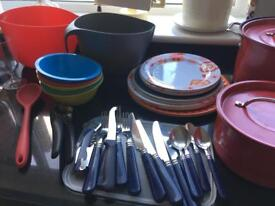 Kitchen equipment for camping.