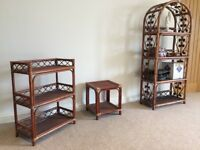 Rattan Furniture - medium and small shelf units, glass topped coffee table, small side table