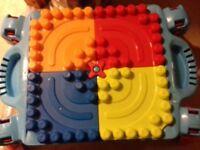 Mega block table and bag of mega blocks