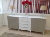 Stunning Ikea Besta White Sideboard with Glass Top - excellent condition