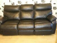 Black leather recliner 3 seater & 2 seater