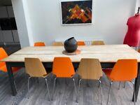 8 foot x 3 foot pine table ex Steyning Grammar school table