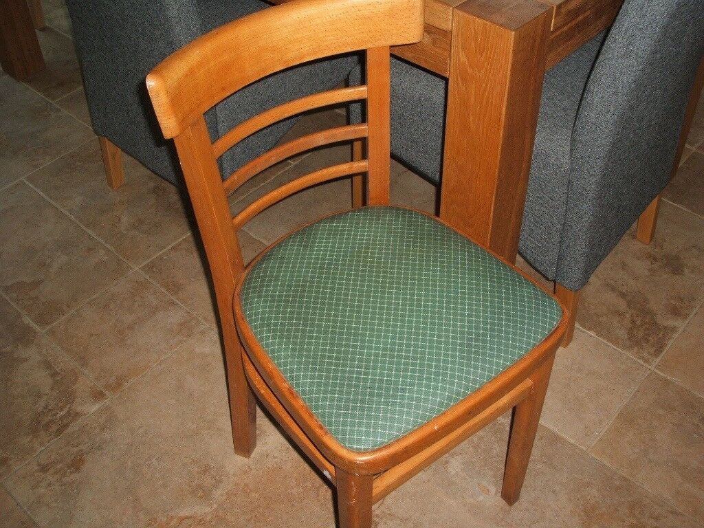 3906123ba24 TWO WOODEN KITCHEN CHAIRS WITH GREEN SEAT PADS. NO LONGER REQUIRED DUE TO  MOVING. IN REASONABLE CO