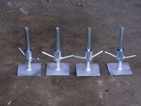 Scaffolding leg adjustable base plates. Set of 4 brand new.
