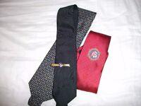 3 Freemason ties and tie clip.