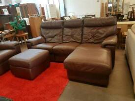 Brown leather corner sofa with reclining chair and pouffe