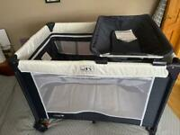 Travel Cot Cuggl Deluxe and Changer Unit with Bassinet plus additional mattress