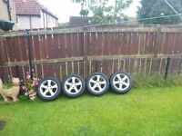 Honda alloy wheels with winter tyres.
