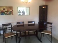 Mahogany Table With 4 Chairs + Matching corner unit . Very good condition
