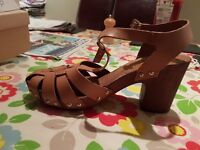 Topshop Nelly Tan Leather Sandals size 7. Never worn, £10. Pick up Kinross or Edinburgh